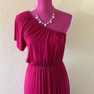 Rachel Pally One Shoulder Raspberry Maxi Dress